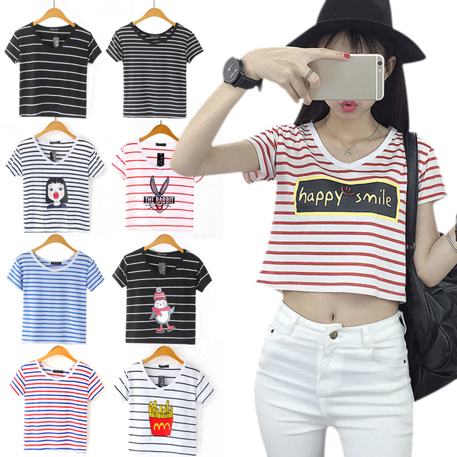 92a08df4192 Fashion 20Pattern Girl striped crop top women loose 2017 camiseta thin  female o-neck short