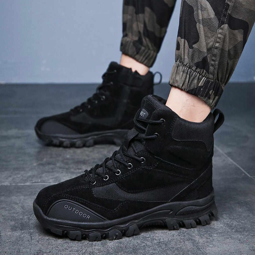ฤดูหนาวรองเท้าผู้ชาย 3 สียุทธวิธีบู๊ทส์ผู้ชายรองเท้าสูงด้านบน 2019 Non-SLIP ฤดูหนาวรองเท้า LACE-Up รองเท้า Man PLUS ขนาด