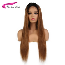 Carina Ombre 1b30# Lace Front Human Hair Wigs with Baby Hair Pre-Plucked Hairline Remy Brazilian Straight Hair Glueless Wigs