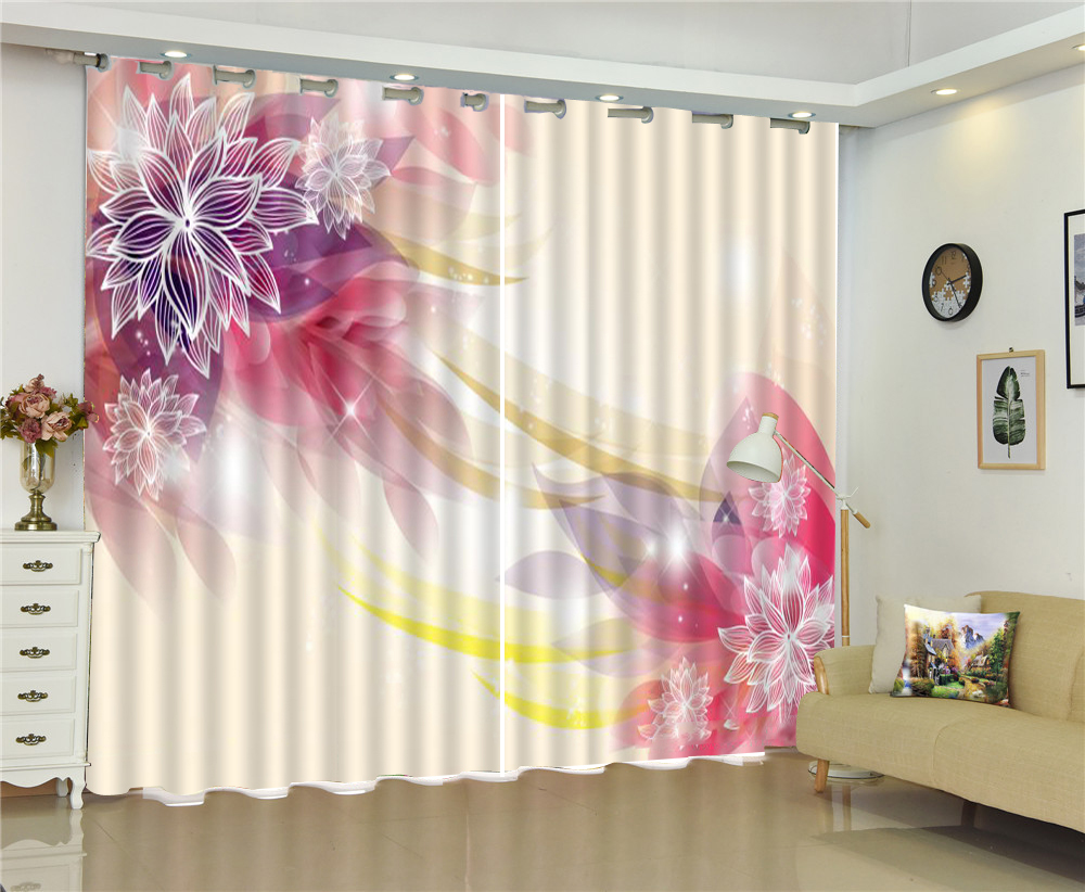 Curtain In Dreamy Lines, Beautiful Lotus, European Modern Exquisite Interior Curtains