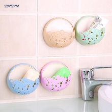 1pc Wall-mounted Strong Sucker Soapbox Hollow Soap Box Drain Soap Dish Jewelry Storage Rack Kitchen Bathroom Tools