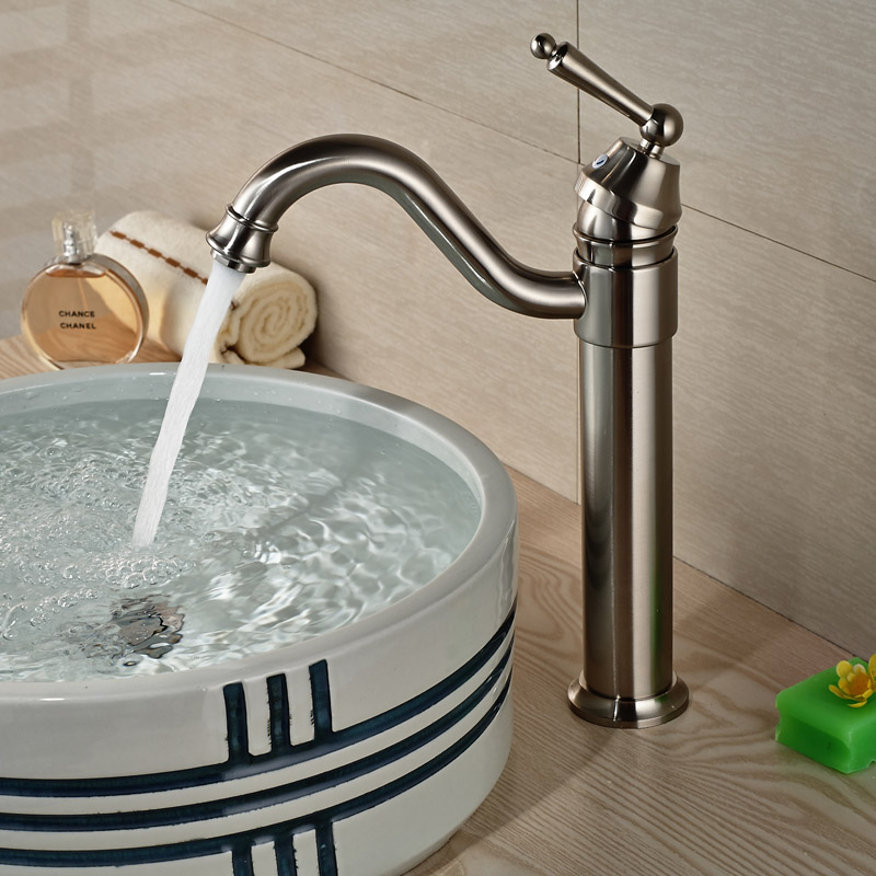 Brushed Nickel Deck Mount Hot Cold Basin Faucet Bathroom Countertop Single Handle Mixer Taps