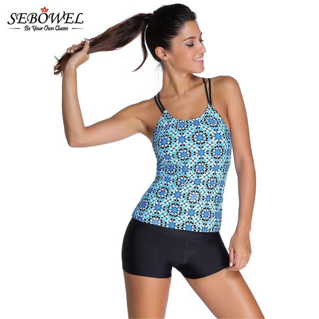 sebowel women plus size tankini with shorts sport bathing suits beachwear grayish patterned. Black Bedroom Furniture Sets. Home Design Ideas