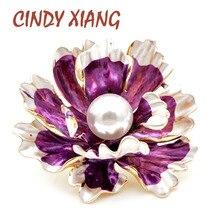 CINDY XIANG 7 цветов эмалированные броши в виде пиона для женщин большая свадебная брошь в виде цветка на булавке дизайн пальто ювелирное изделие подарок