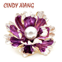 CINDY XIANG 7 Colors Available Enamel Peony Brooches for Women Large Wedding Flower Pin New Design Coat Jewelry Gift