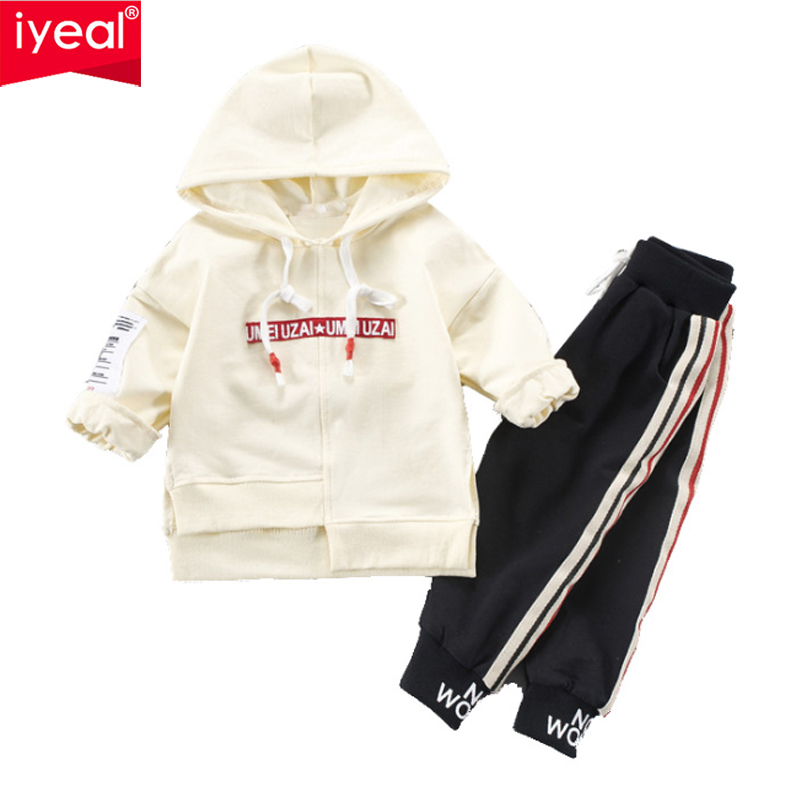 IYEAL Baby Boys Clothing Set For Kids Casual Letter Hooded Autumn Spring Childrens Sports Suits 2PCS Girl Clothes 1 2 3 4 Years