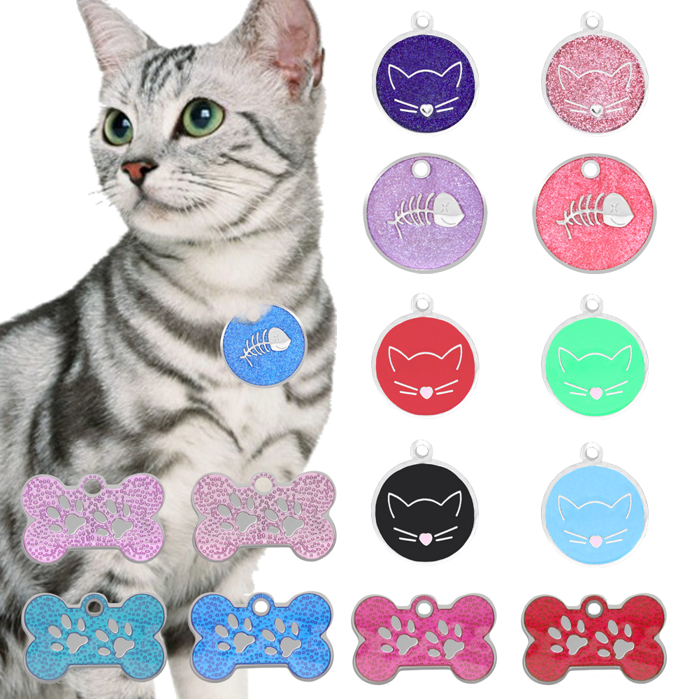 Lovely engraving Cat ID Tag Stainless Steel Pet Collar Accessories Necklace Decorative Name Telephone ID Pendant image