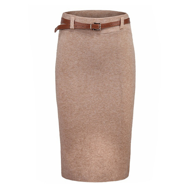 2019 Autumn Winter Knitting High Waist Skirt Womens Slim Package Hip Skirts Pencil Skirts Feminino Saia Ladies Knee-length Skirt