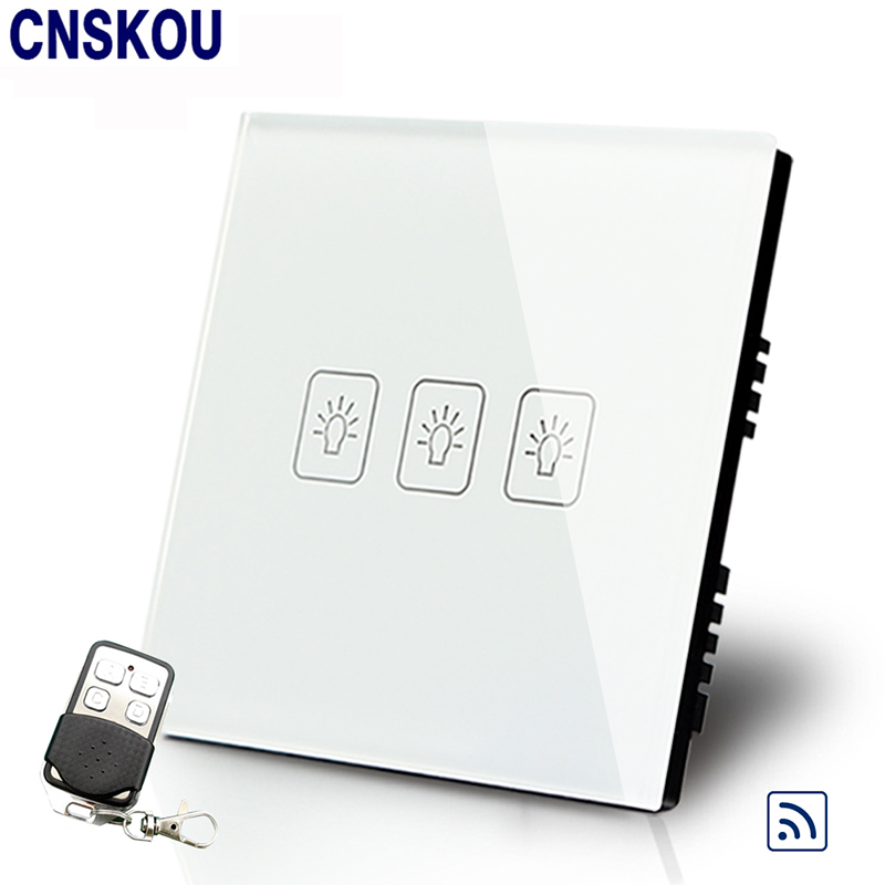 Cnskou Manufacturer  UK Standard Remote Wall Switches with Controller 3Gang1Way 50HZ/60HZ Touch  Switch 220V with LED Indicator wall light touch timer switch 1 gang 1 way crystal glass cover time delay electrical switches blue led indicator uk type
