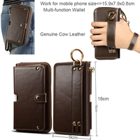 Genuine Cow Leather Wallet Finger Ring Belt Strap Mobile Phone Case For Xiaomi Mi 8 Lite,Mi 8 Youth,Mi 8 Pro,Redmi Note 6 Pro