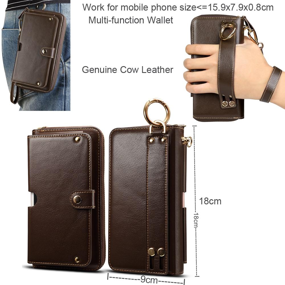 Portefeuille en Cuir De Vache véritable Bague Ceinture Sangle Mobile étui de téléphone pour xiaomi mi 8 Lite, mi 8 Jeunes mi 8 Pro, Rouge mi Note 6 Pro