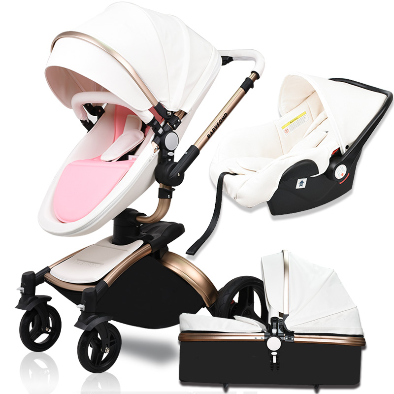 25usd coupon!luxury High landscape Baby Stroller 3 in 1 PU Leather Baby Car EU standard independent newborn basket babyfond pram