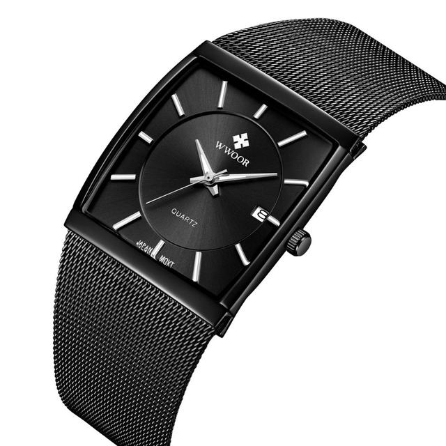 2019 New Brand Luxury Mens Square Quartz Watches Male Waterproof Date Clock Black Stainless Steel Mesh Business Men Wrist Watch