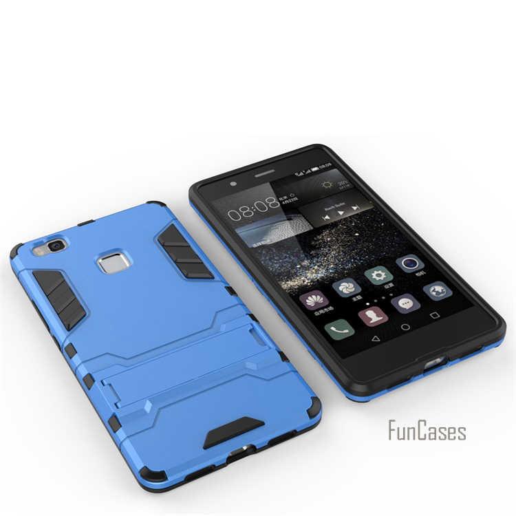 Per Huawei P9 Caso Lite 5.2 pollici Dual Layer Hybrid Rugged armatura Dura del PC + TPU Antiurto Con Kickstand Custodia Per Huawei P9 Lite