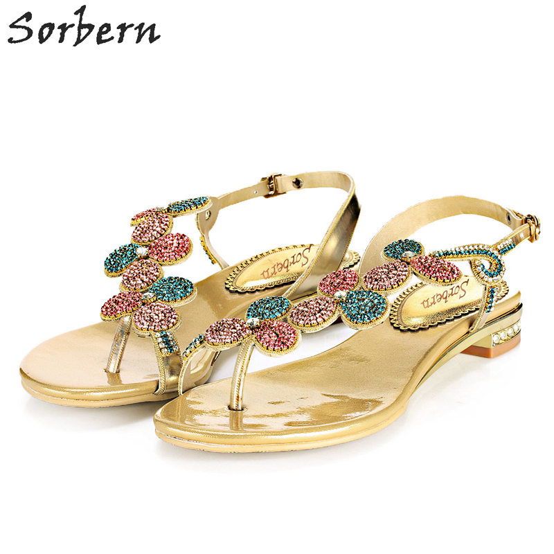 Sorbern 2.5CM Flat With Women Sandals Crystal Party Shoes Plus Size Luxury Rhinestone Cheap Modest Shoes Hot Sale