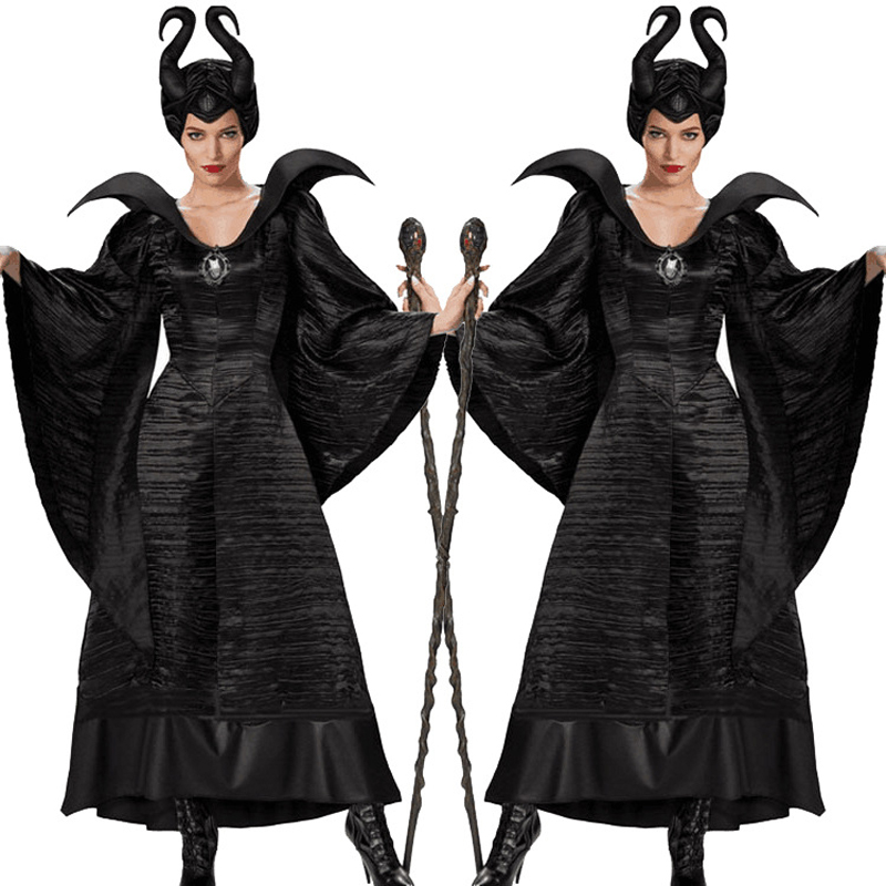Halloween Costume For Women Black Sleeping Beauty Witch Queen Carnival Party Cosplay Dress Female Cosplay Full Set
