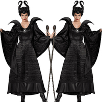 Woman Costume Black Sleeping Beauty Witch Queen Carnival Party Halloween Cosplay Dress Female Cosplay Full Set