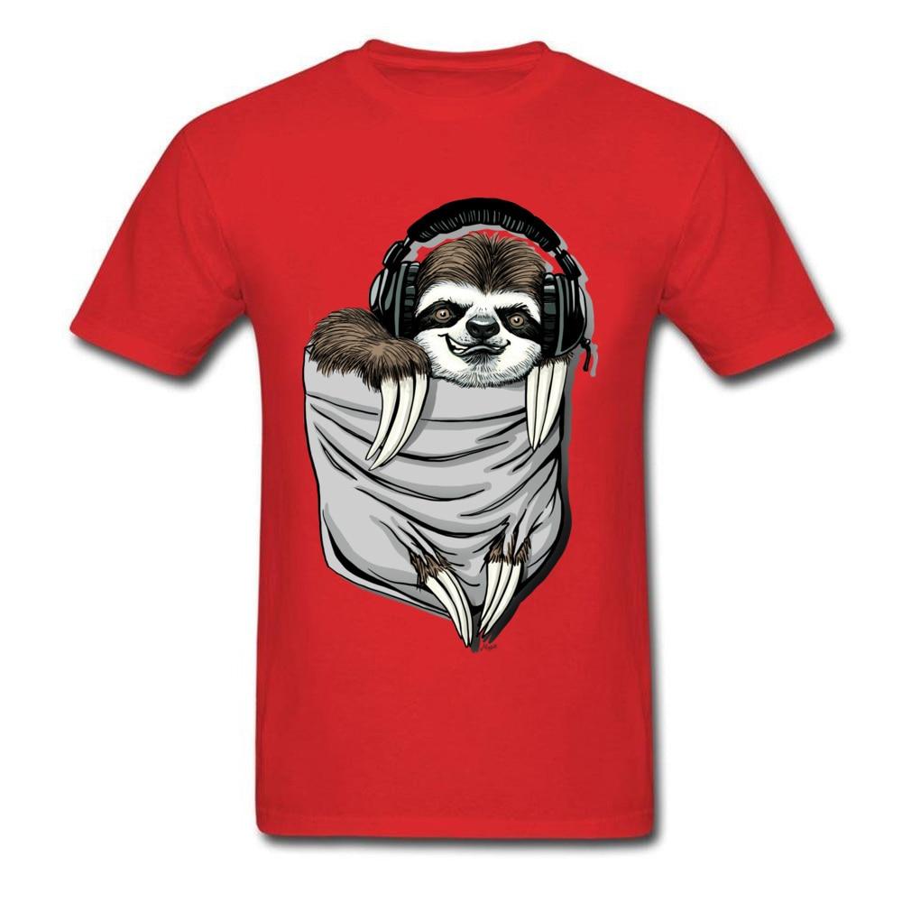 Прочный Шарм DJ Музыкальная гарнитура Ленивец Спортивная футболка мужская Спортивная Футболка серая футболка Kawaii дизайн карманный монстр одежда - Цвет: Red