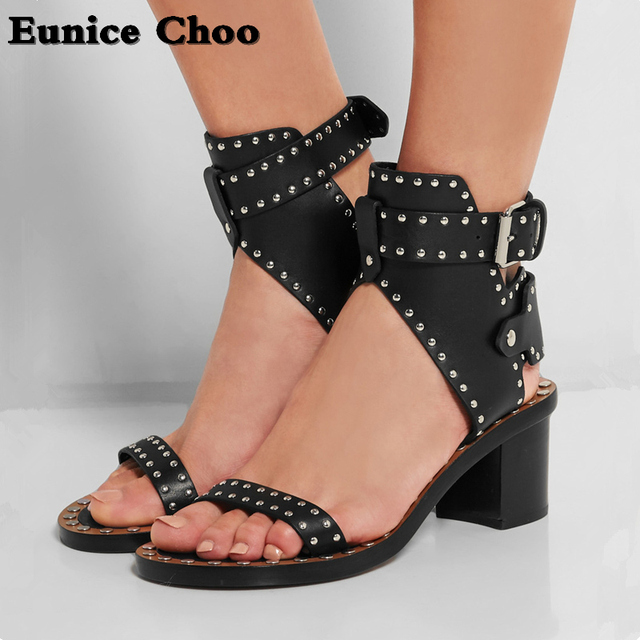 d99c8425642 Black Rivets Gladiator Sandals Woman Eunice Choo New Arrival Summer Flat or  Chunky Med Heels Metal Buckle Leather Shoes Women
