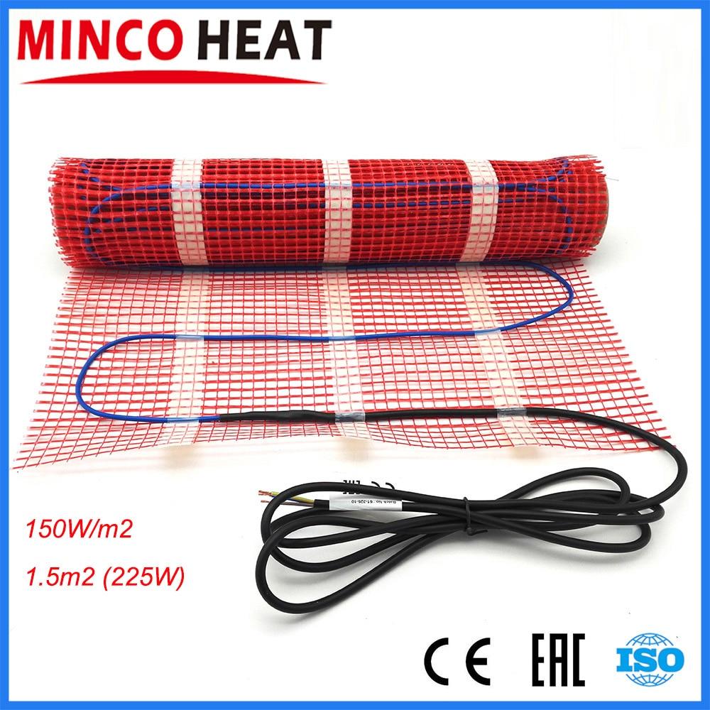 1 5m2 Twin conductor warm floor heating mat 0 5m width infrared electric warm floor heating