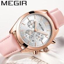 MEGIR นาฬิกาผู้หญิงกันน้ำยี่ห้อ Luxury Chronograph นาฬิกาข้อมือสุภาพสตรีของแท้หนังคลาสสิกสร้อยข้อมือนาฬิกา 2115