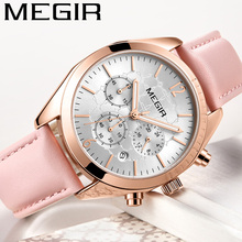 MEGIR Women Watch Waterproof Top Brand Luxury Chronograph Ladies Wristwatch Genuine Leather Classic Bracelet Female Clock 2115