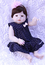 Reborn Baby Doll Lifelike full Silicone Vinyl Girl Body Newborn Babies fashion princess Kids Birthday Gifts toy 55cm Bebe Reborn