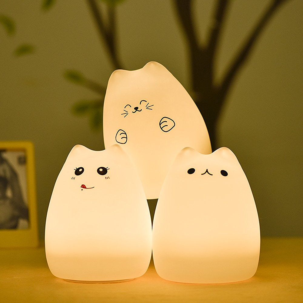 Night lights nursery - Lumiparty Cute Cat Led Children Night Light Multicolor Silicone Soft Baby Light Nursery Lamp Portable Silicone Nursery Nightlamp