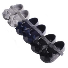 New Babys First Walker Shoes Sweet Bow Retro Baby Toddler Non-Slip Soft Forefoot Girl
