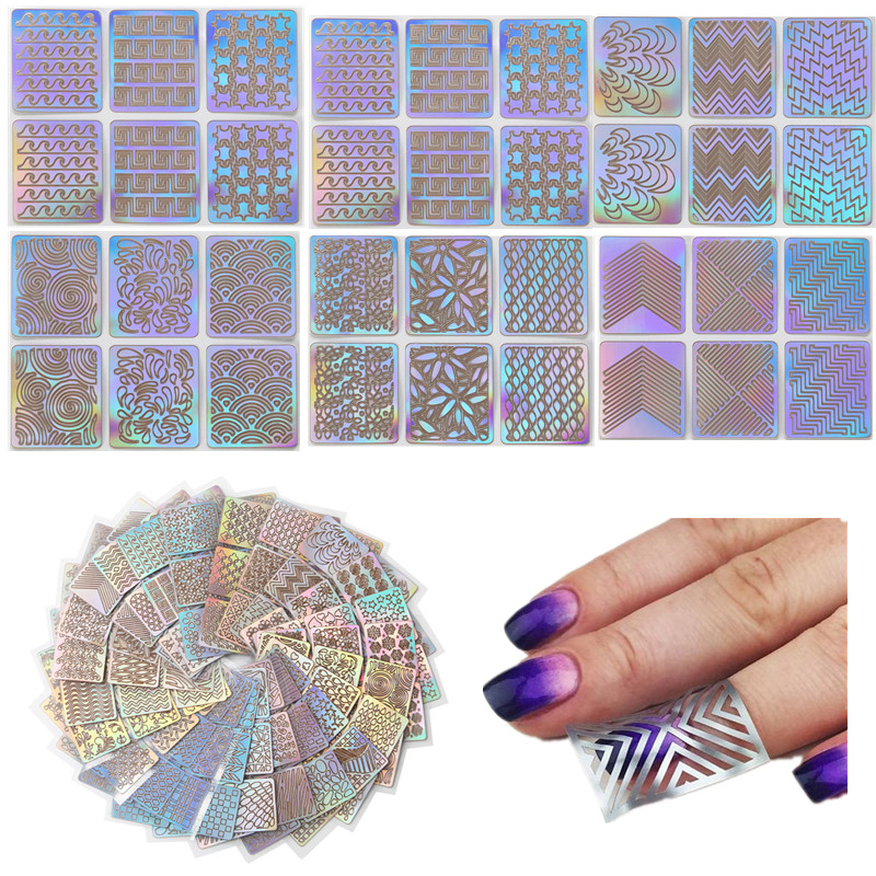 24 Sheet Sets DIY Nail Vinyls Different Syles Hollow Irregular Stencils Stamp Art Tool Manicure Sticker Laser Silver In Stickers Decals From
