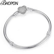 BAOPON, высокое качество, Подлинная Серебряная цветная змеиная цепь, прекрасный браслет, Подходит для европейских браслетов-шармов для женщин, сделай сам, изготовление ювелирных изделий