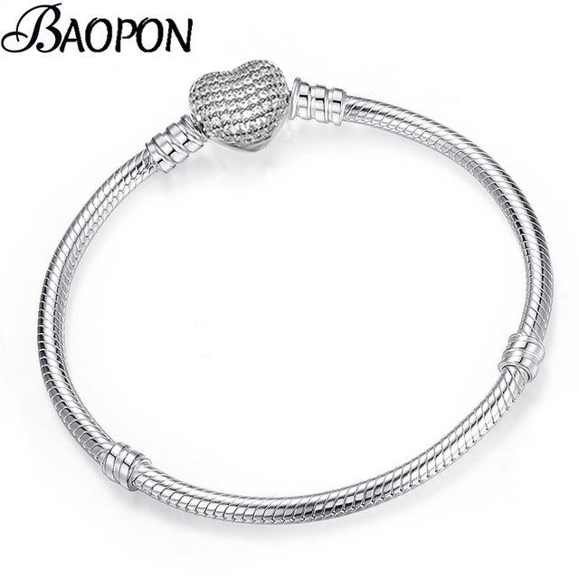 BAOPON High Quality Authentic Silver Color Snake Chain Fine Fit European Charm Bracelet