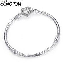 8306326e3794 BAOPON de alta calidad auténtica de Color plata de cadena de serpiente de  Pandora pulsera Europea pulsera del encanto para las m.