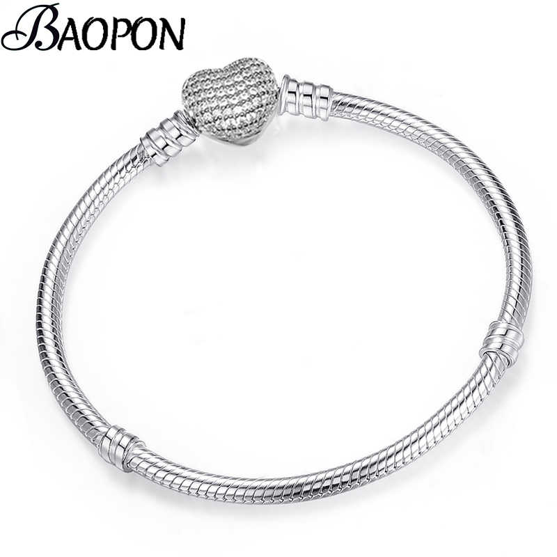 BAOPON High Quality Authentic Silver Color Snake Chain Fine Bracelet Fit European Charm Bracelet for Women DIY Jewelry Making