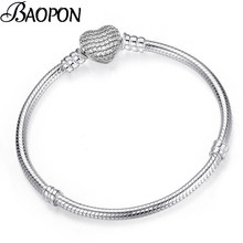 BAOPON High Quality Authentic Silver Color Snake Chain Pandora Bracelet Fit European Charm Bracelet for Women DIY Jewelry Making(China)