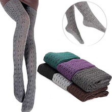 1Pair Hot Fashion Women Winter Twist Style Knit Warm Cotton Polyester Solid Color Pantyhose Tight Stockings