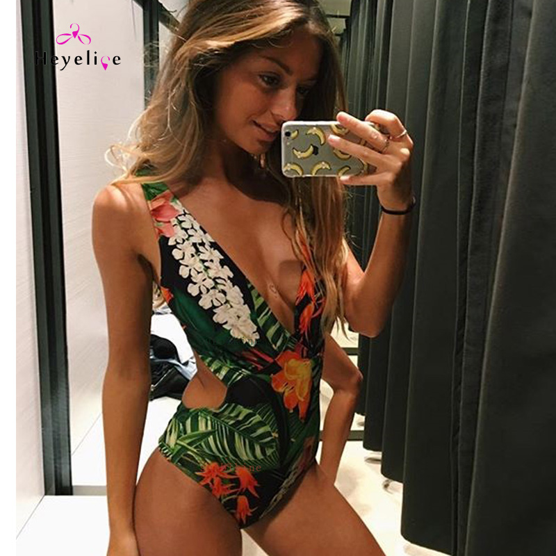 64592c978b890 New Holiday Beach Women Swimwear Sexy Printing 1 Piece Swimsuits High Cut  Monokinis Hotsale Beach Swimming
