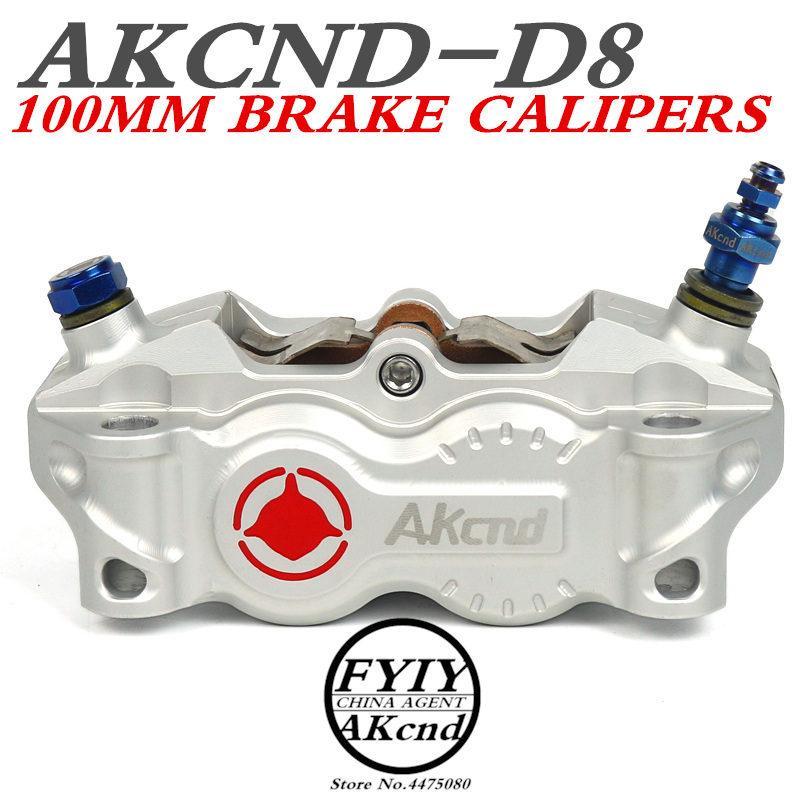 AKCND 30MM*4 pistons Motorcycle Brake Caliper 100mm Univerisal Motorbike modified Hydraulic brake pump for front/rear syst