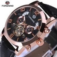 FORSINING Tourbillon Mens Watches Automatic Watch Rose Gold Case Calendar Male Clock Black Mechanical Watch Relogio