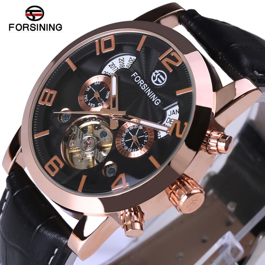 FORSINING Tourbillon Mens Watches Automatic Watch Rose Gold Case Calendar Male Clock Black Mechanical Watch Relogio Masculino 2015 forsining relogio pmw342