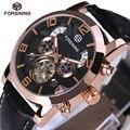 FORSINING Tourbillon Mens Watches Automatic Watch Rose Gold Case Calendar Male Clock Black Mechanical Watch Relogio Masculino