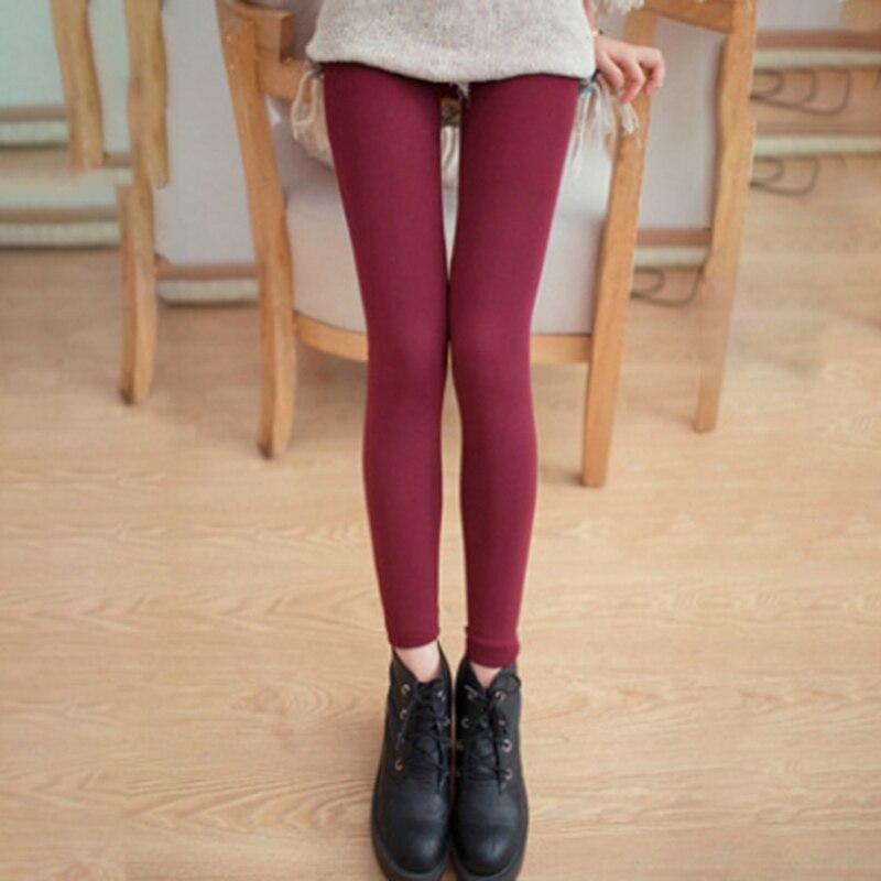 High Quality Solid Color Women's Warm   Leggings   Autumn Fashion Plus Thin Velvet Pants High Elastic Waist Slim Leggins Trousers