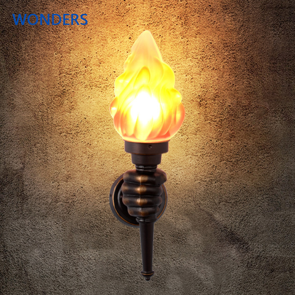 Retro Industrial Wall Lamp Creative flame Torch hand light Cafe Staircase Aisle Corridor Bedroom Lamp Bathroom