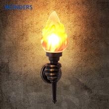 레트로 산업 벽 램프 크리 에이 티브 불꽃 토치 핸드 라이트 카페 계단 통로 복도 침실 램프 욕실 라이트 바