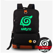 Naruto Luminous Schoolbag Shoulder Bag Backpack Rucksack Naturo Syaringan Print Canvas Computer Bag Free Shipping(China)