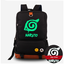 Naruto Luminous Schoolbag Shoulder Bag Backpack Rucksack Naturo Syaringan Print Canvas Computer Bag Free Shipping
