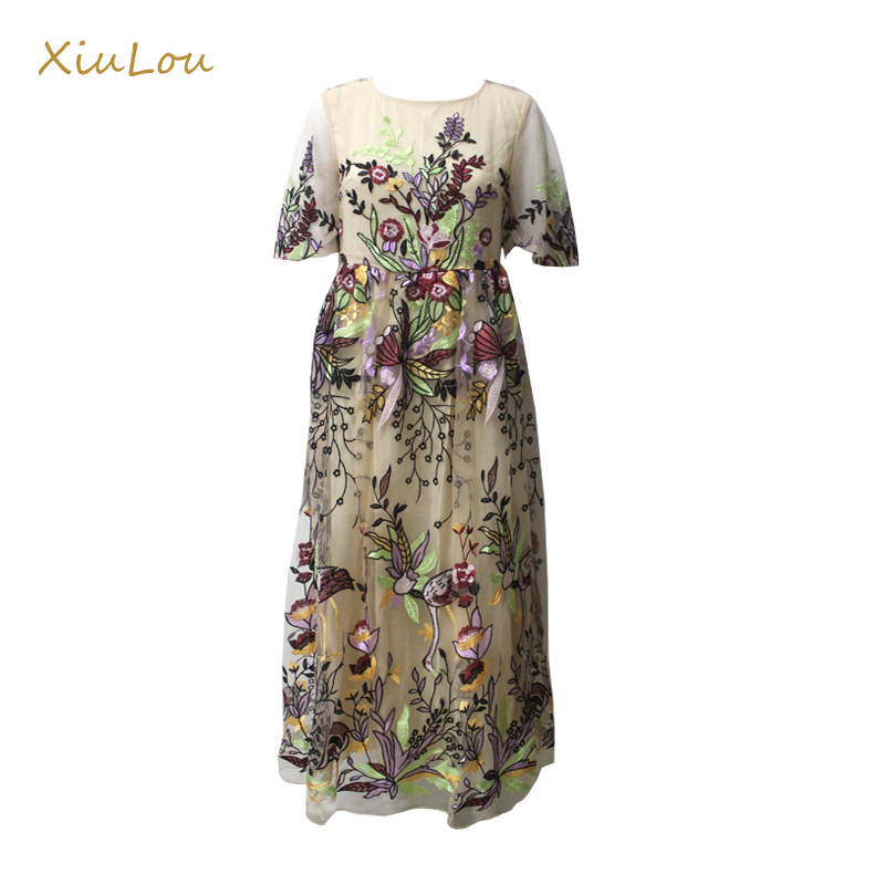 2017 High Quality Fashion Designer Runway Maxi Dress Women's Short sleeve Gorgeous Voile Floral Embroidery Long dress