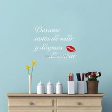Besame antes de salir y despues de entrar Spanish Quote Vinyl Mural Stickers for Bedroom Decor