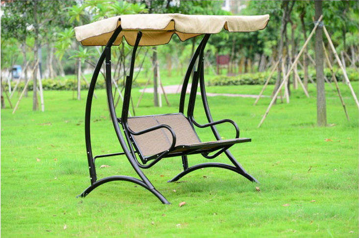 Outdoor 2Person Canopy Swing Chair Patio Hammock Seat Yard Porch Furniture Steel patio leisure luxury durable iron garden swing chair outdoor sleeping bed hammock with gauze and canopy