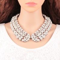 Moda Temperament Luksusowe Pusta Kołnierz Naszyjnik dla Kobiet Handmade Symulowane Pearl Collar Choker Naszyjnik Biżuteria Hurtowych